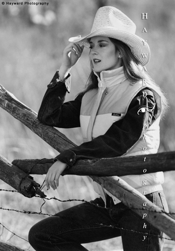 Female Model at Rail Fence