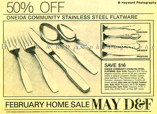 Silverware Newspaper Ad for May D&F