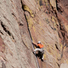 Climbing Partners Scale Vertical Wall, Eldorado Canyon, 401106B_028