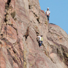 Two Climbers Reach Top, Vertical Cliffs, Eldorado Canyon, 401106B_054