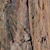 Climbing Partners Pause On Vertical Wall Eldorado Canyon, 401106B_088