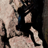 Close_up, Climber Silhouetted Climbing The Bastille, 401106B_093