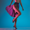 Legs; Studio Shot of Female Model\'s Legs as Wind Blows Her Skirt Open
