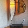 Sculptural Floor Lamp Of Small Branches, Paper & Wood
