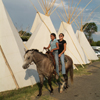 Two Children Bareback On One Horse in Tipi Camp, Crow Fair 2006: 1_077
