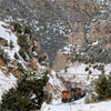 A BNSF Train slowly Makes its Way through the Wind River Canyon: 161