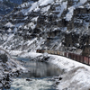 A BNSF Train slowly Makes its Way through the Wind River Canyon: 172
