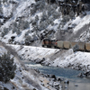 A BNSF Train slowly Makes its Way through the Wind River Canyon: 175